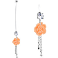 Handcrafted Clear CZ Peach English Rose Pregnancy Belly Ring