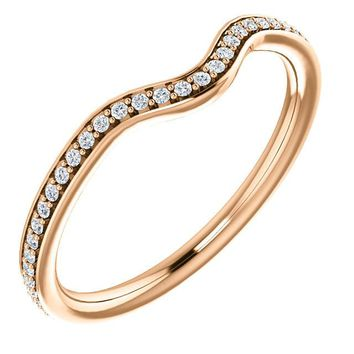 14k Rose Gold Band For 8x4mm Marquise Ring