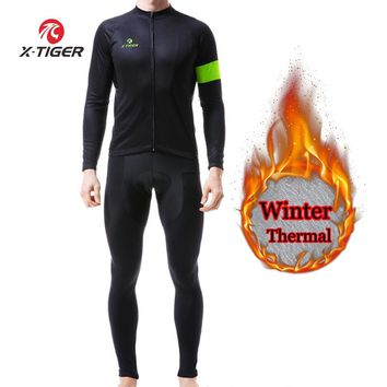 X-TIGER Winter Cycling Clothing Thermal Fleece Cycling Jersey Sets Men Bicycle Jacket Men's Bike Clothing Ropa Ciclismo 2018