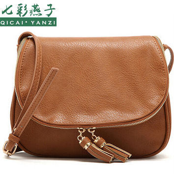 Women Leather Shoulder Bag Messenger Tassel Handbag