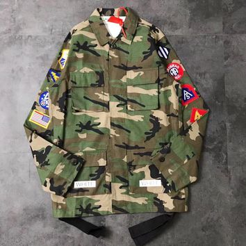 Off White Green Camo Epaulets Sleeve Jacket Black Ribbon 003