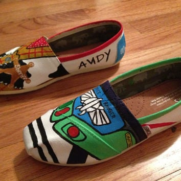 Custom Hand-Painted Disney Toy Story Buzz Lightyear and Woody Toms Shoes (All Requests Accepted)