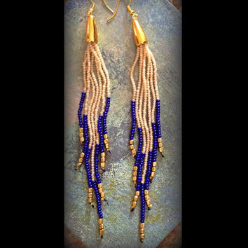 Any Color Super Long Beaded earrings, Tribal, Dangle Earrings, Long Earrings, Native American Earrings, Swing Earring, Seed Bead Earrings