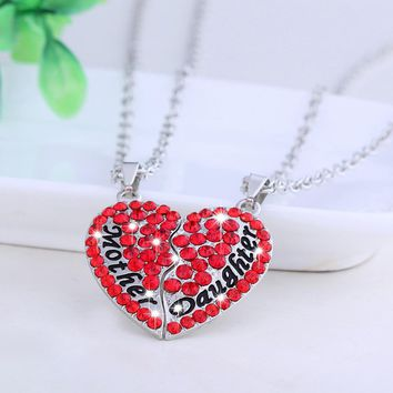 Necklace Mother And Daughter Forever Mix Color Rhinestone Crystal Heart Pendant Necklace Mother's Day Gift Family 2 Parts 1 Set