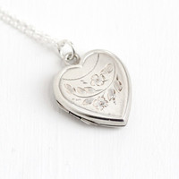 Vintage Sterling Silver Heart Locket Necklace - Art Deco 1930s 1940s Sweetheart Floral Etched Jewelry Hallmarked Bliss Brothers Co.