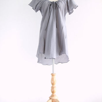 Light Gray Cotton Peasant Blouse - Women Romantic  Dolly Flowy