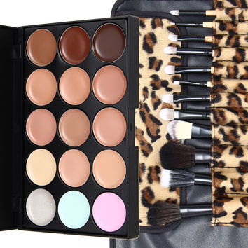New Make Up Set 15 Colors Contour Face Cream Makeup Concealer Palette + 12Pcs Leopard Powder Eyeshadow Brushes 99.9% Area K5BO