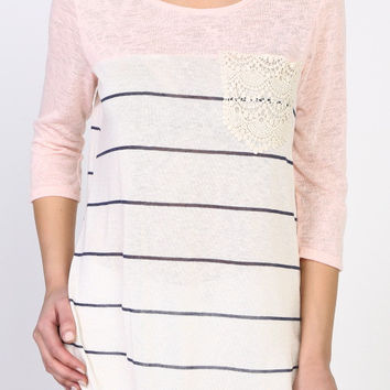 Pink Striped Vintage Top
