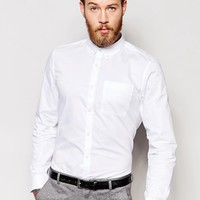 River Island Twill Shirt In White Regular Fit