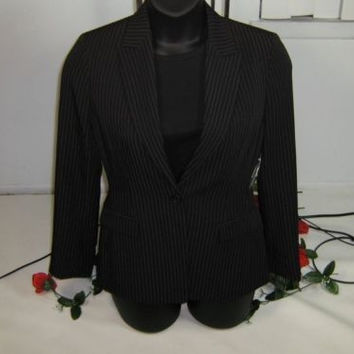 HOT new womens ELLIE TAHARI black Pinstriped jacket size 8 $398 NW/Tag
