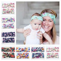 Mom and Me Turban Headband Top Knotted Rabbit Ears Elastic Bow knot Matching Headband Baby and Mommy Headwrap Gifts