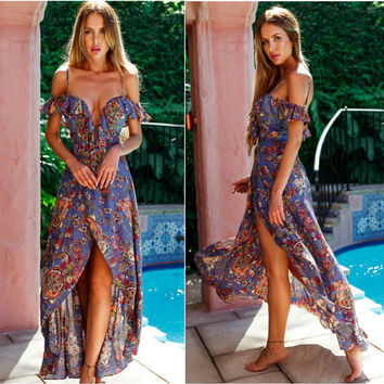 Spaghetti Strap Summer Slim Sexy V-neck Print Irregular One Piece Dress [10399680141]