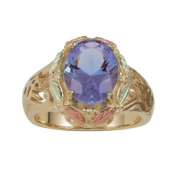 Black Hills Gold Tri-Tone Lab-Created Indigo Helenite Leaf Frame Ring (Green)