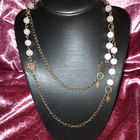 Rose Quartz Long necklace Old copper and earrings
