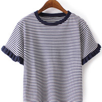 Navy Ruffle Cuff Short Sleeve Stripe T-shirt