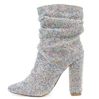 Women's Ankle Heel Multi Colored Bootie