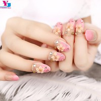 24 Pcs Glitter Pink Flower Design False Fake Nails Artificial Full Cover Nails Tips Rhinestone Unhas Postizas Manicure With Glue