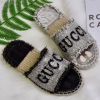 GUCCI 2018 New English Rhinestone Tassel Cross with a font female sandals F0319-1 Black