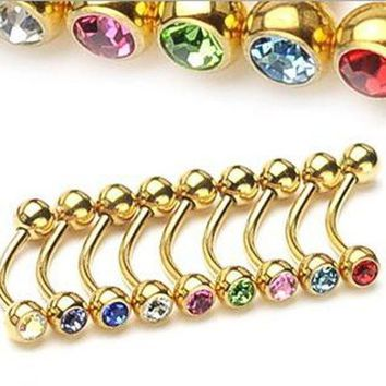 ac PEAPO2Q Isayoe 5 Pieces Mix Color 16G  Barbells Crystal Eye Eyebrow Rings Stainless Steel Bar Banana Gold Body Piercing Jewelry