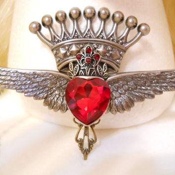 Ruby Red Heart Necklace, with Crown and Silver Wings, Valentines Day, Gift , Game of Thrones, Harley, Steampunk, Queen, Sacred Heart, Royal