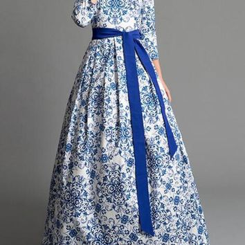 New White-Blue Floral Pleated Sashes Pockets 3/4 Sleeve Backless Prom Evening Party Maxi Dress