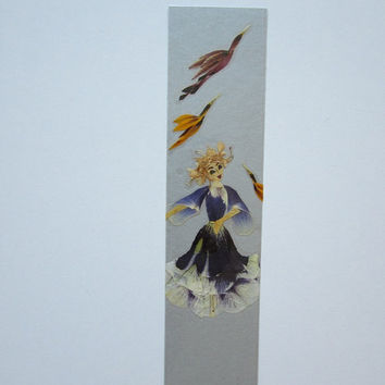 "Handmade unique bookmark ""Wait, I want to tell you something"" - Decorated with dried pressed flowers and herbs - Original art collage."
