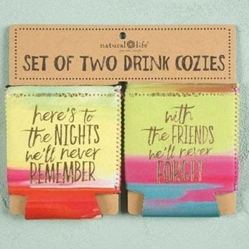 PEAPVA6 Here's to Nights Set of 2 Can Koozies