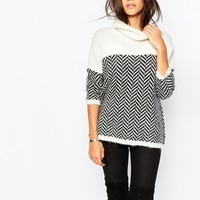 Sisley Roll Neck Jumper In Chevron Stripe