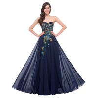 Evening Dresses Long 2016 For Wedding Occasion Dresses Plus Size Grace Karin Peacock Dress Elegant Formal Evening Gowns 6168