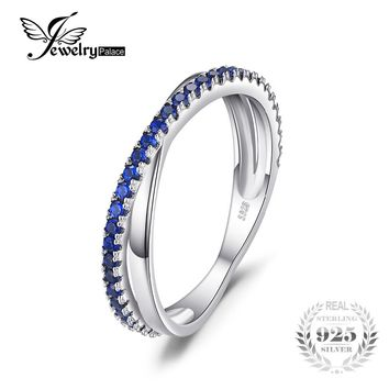 JewelryPalace Round 0.3 ct Created Blue Spinel Trendy Wedding Bands Rings For Women Real 925 Sterling Silver Anniversary Jewelry