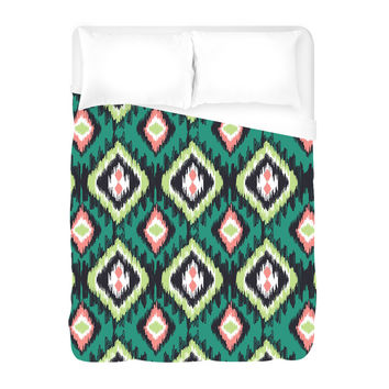 Cat's Eye on Green Duvet Cover