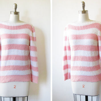 SALE 80s striped sweater / pink and white knit pullover