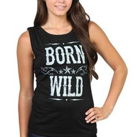 "rayon tank with ""born wild"" screen print with studded epallets"