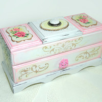Big Shabby chic Jewelry Box,  Hand Decorated Trinkets Box, Distressed pink box, box with polymer clay rose, pink white yellow gold