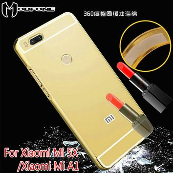 "Luxury Mirror Back Cover Case For Xiaomi 5X Mi 5X/Xiaomi A1 Mi A1 (5.5"") Ultra Thin Aluminum Metal Frame Acrylic Cover  JM03"