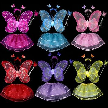 Butterfly Fairy Wing Wand And Headband Set Costume