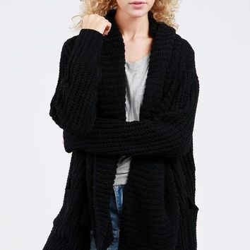 Open Front Chenille Cardigan Sweater - Black