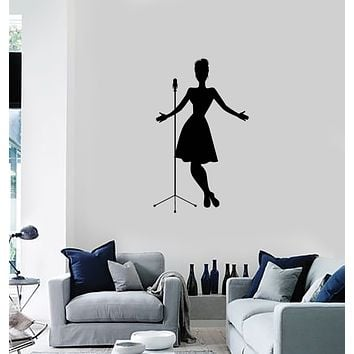 Vinyl Wall Decal Singer Silhouette Woman Karaoke Bar Interior Room Art Stickers Mural (ig5953)