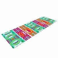 "KESS InHouse Miranda Mol ""Ethnic Summer"" Green Orange Yoga Mat, 72"" X 24"""