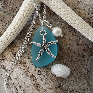 Made in Hawaii, Blue sea glass necklace, Starfish  charm, Fresh water pearl, 925 sterling silver chain, gift box, Hawaii beach jewelry gift