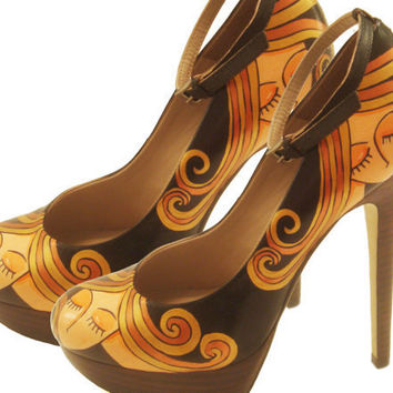 Blond Lady Pumps Hand Painted Heels by PonkoWorld on Etsy