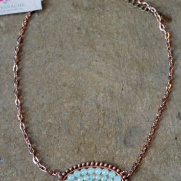 Pink Panache Rose Gold Oval Necklace with Solid Mint Crystals