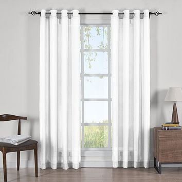 WHITE 50x63 Abri Grommet Crushed Sheer Curtain Panels (Set of 2)