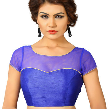 Saris and Things Royal-Blue Net Fancy Back Open Saree Blouse Choli SNT-X-373-ROYAL-BLUE