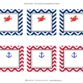 Chevron Crab Birthday Party Food Labels/Food Tents: INSTANT DOWNLOAD
