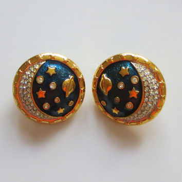 Swarovski Celestial Earrings, Teal Enamel & Hand Set Austrian Crystals, Gold Plated, Stars, Planet, Swan Hallmark, 15% Off SALE!
