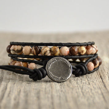 Boho wrap bracelet. Double wrap beaded leather bracelet. Natural stone jewelry