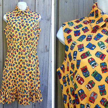Vintage dress | 1970s owl print knit dress with ruffle