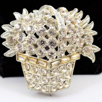 Clear Rhinestone Flower Basket Brooch, Early 1900s, Sparkly, Vintage Brooch, Spring, Summer