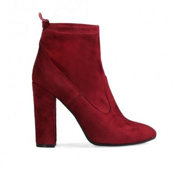 JENNA TIE ANKLE BOOTS IN BORDEAUX FAUX SUEDE